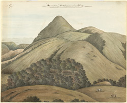Snowden, near Ootacamund.  Hilly landscape with peak.  February 1852